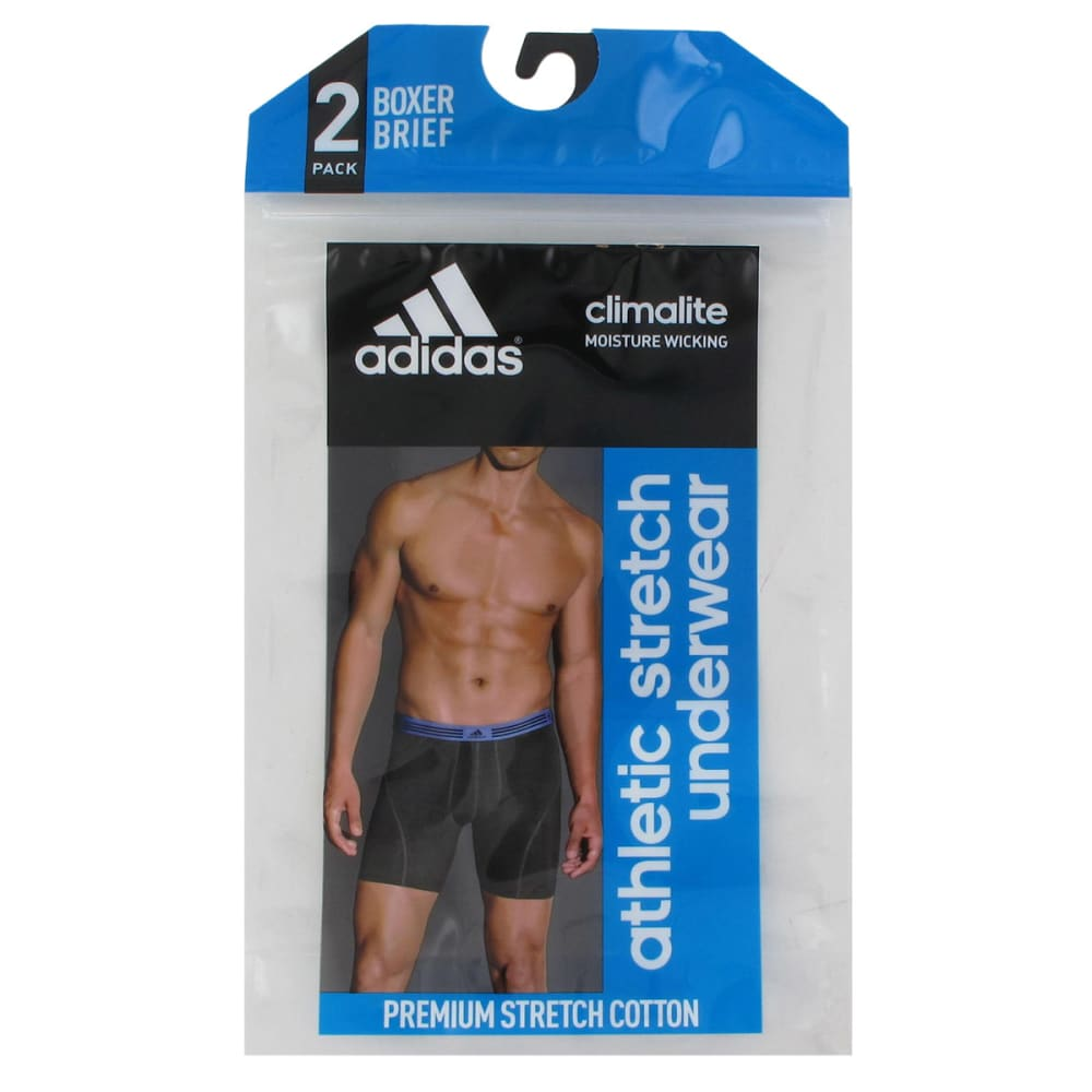 ADIDAS Men's ClimaLite Athletic Stretch Boxer Briefs, 2-Pack - URBAN SKY/RED