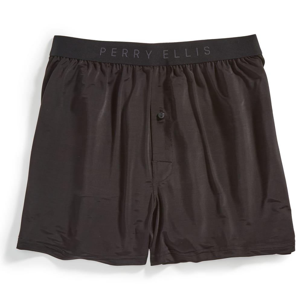 PERRY ELLIS Men's Luxe Boxer Shorts - BLACK GREY HEATHER
