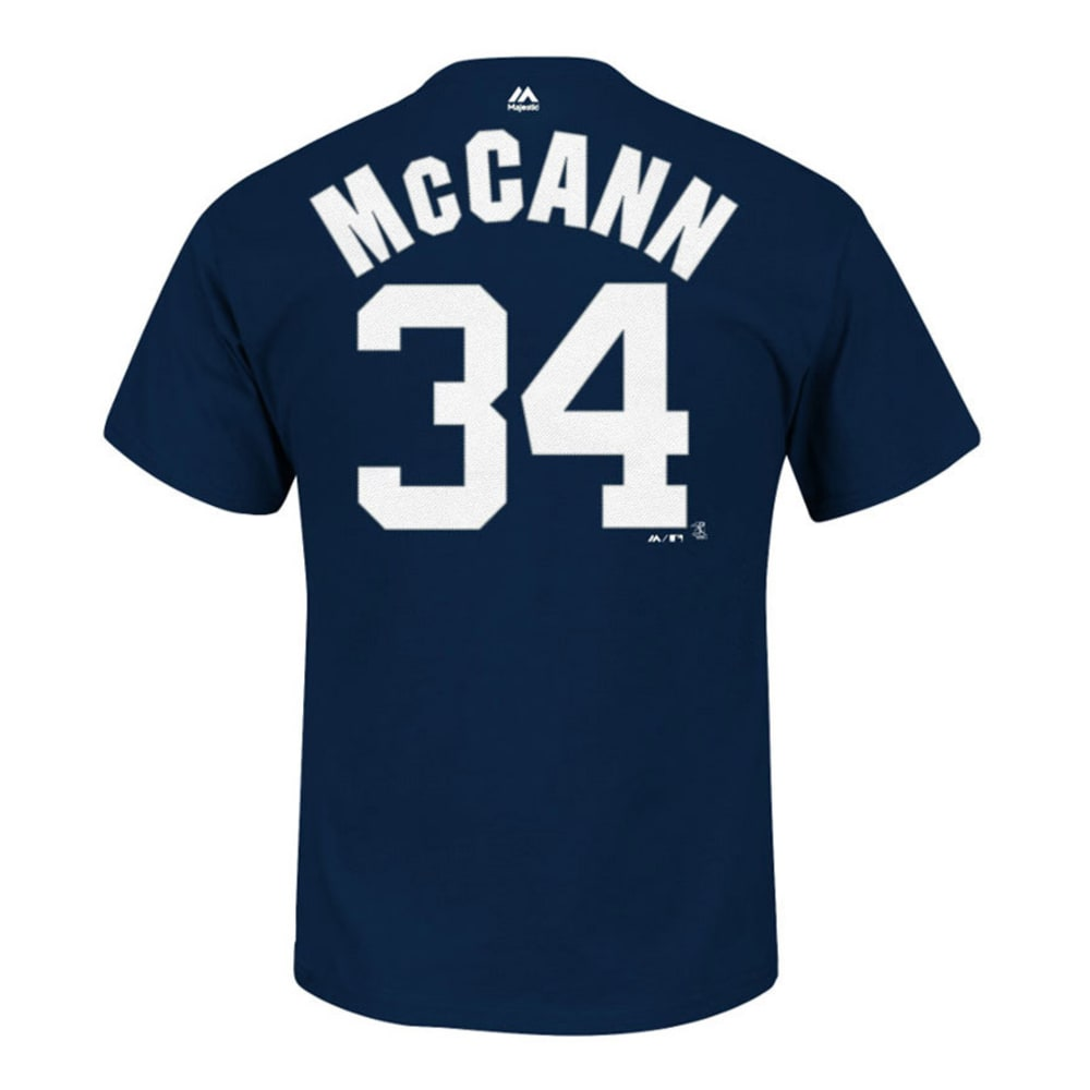 MAJESTIC ATHLETIC Youth New York Yankees McCann #34 Name and Number Tee  - NAVY