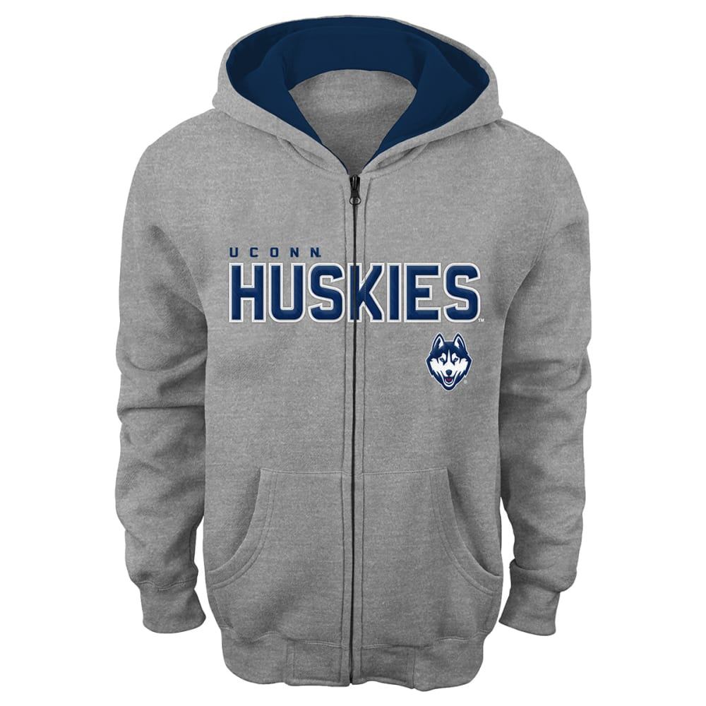 UCONN HUSKIES Boys' Stated Full-Zip Hoodie - GREY