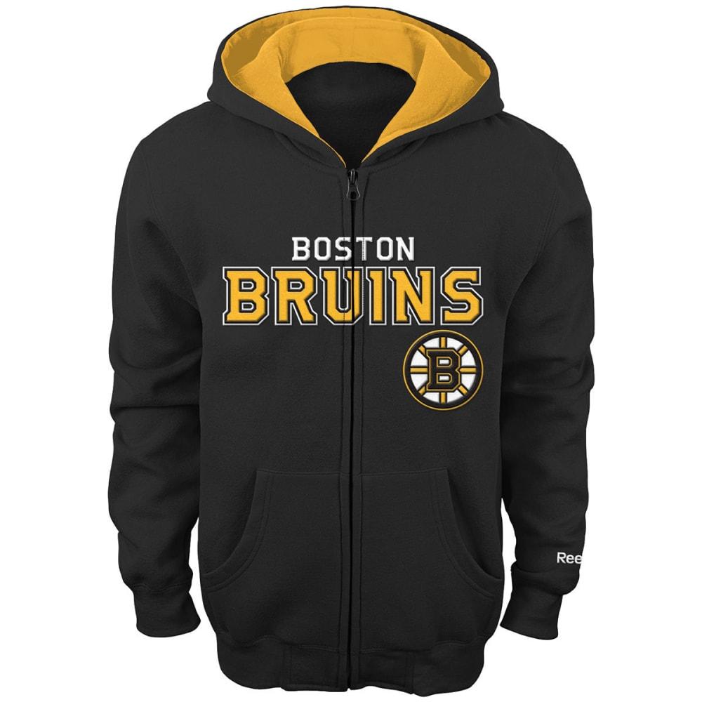 REEBOK Boys' Boston Bruins Stated Full-Zip Hoodie - GREY HOUNDSTOOTH