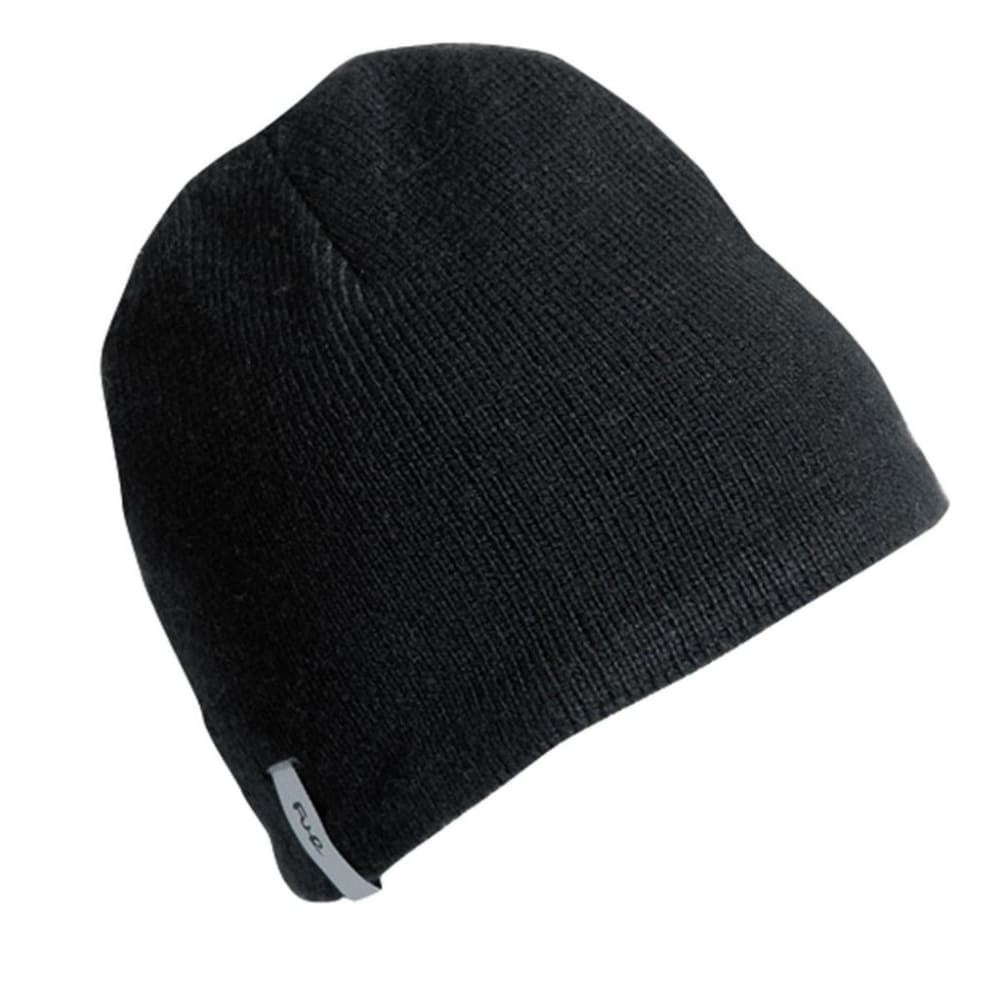 TURTLE FUR N.E. Solid Ragg Wool Beanie - FRONDS BLACK