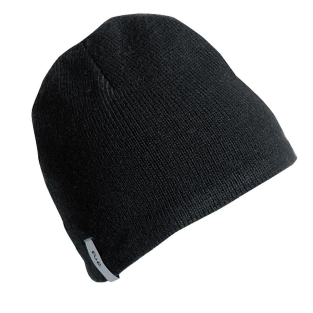 TURTLE FUR N.E. Solid Ragg Wool Beanie - FRONDS BLACK