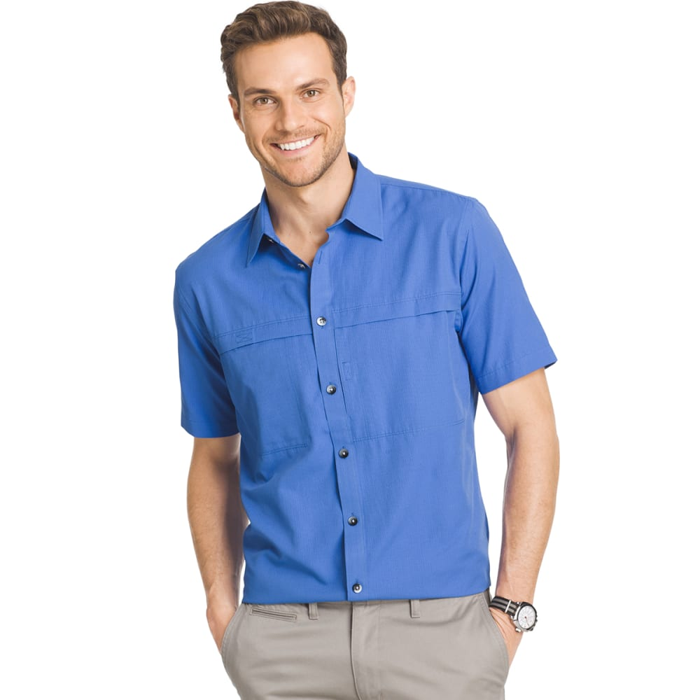 VAN HEUSEN Men's Traveler Utility Shirt - 470-BLU MAZARINE