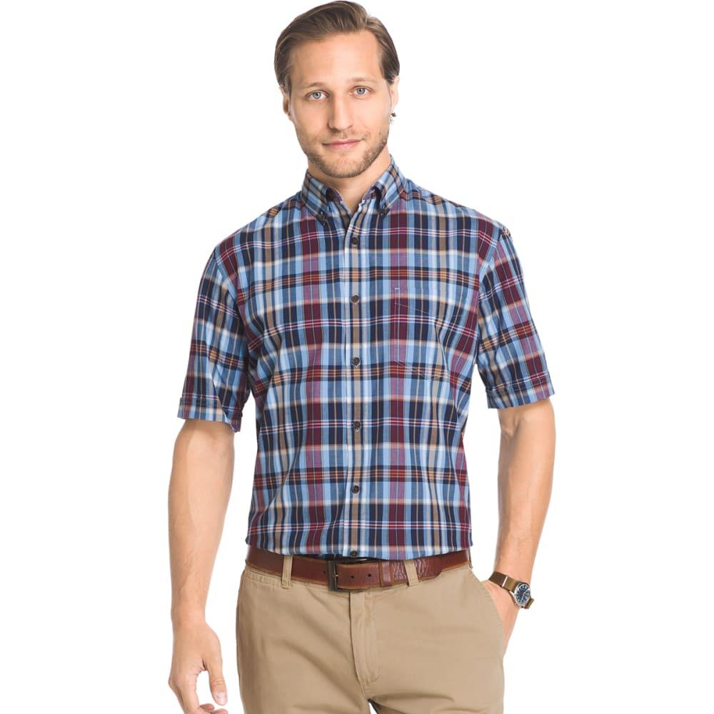 ARROW Men's Madras Short-Sleeve Shirt - 434-SLVR LAKE BLUE