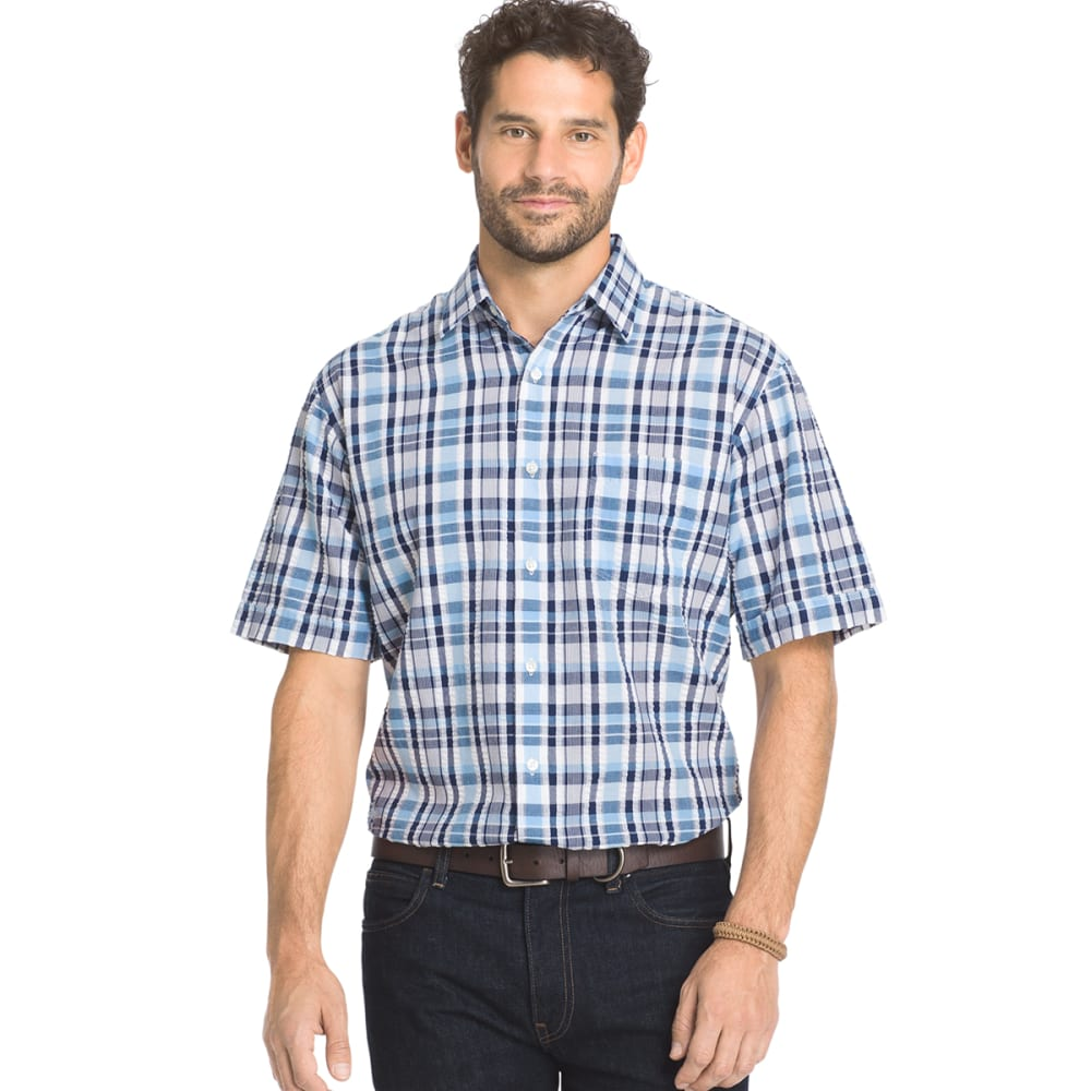 Arrow Men's Sea Jack Pucker Plaid Shirt - Blue, L