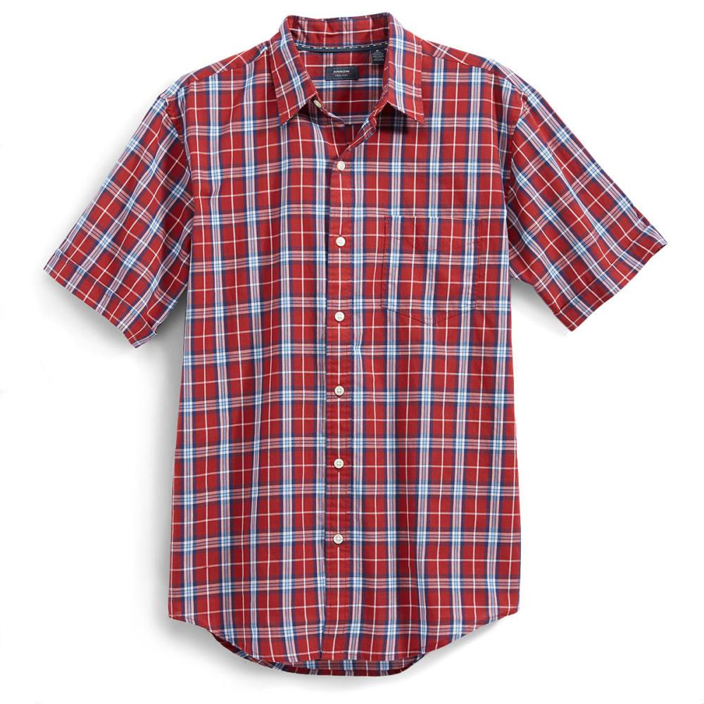 ARROW Men's Sea Jack Seersucker Plaid Shirt - ROSEWOOD
