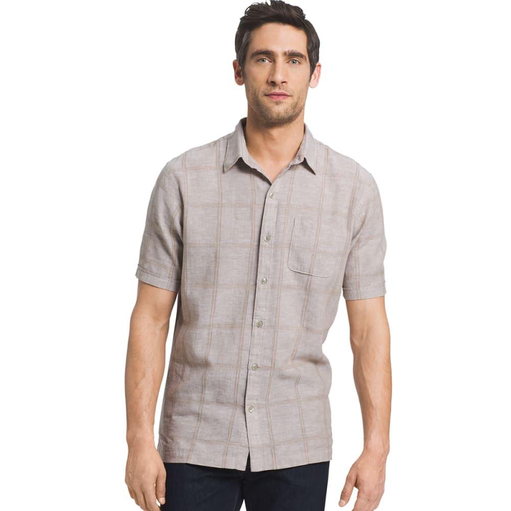 VAN HEUSEN Men's Windowpane Woven Short-Sleeve Shirt - 266-CINCILLA
