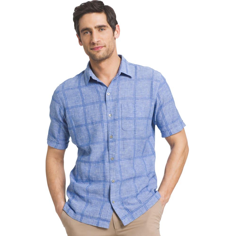 VAN HEUSEN Men's Windowpane Woven Short-Sleeve Shirt - 451-BLUE CRISP