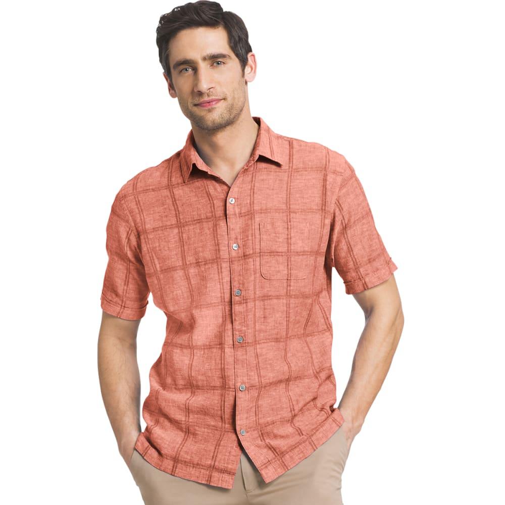 VAN HEUSEN Men's Windowpane Woven Short-Sleeve Shirt - 642-KETCHUP