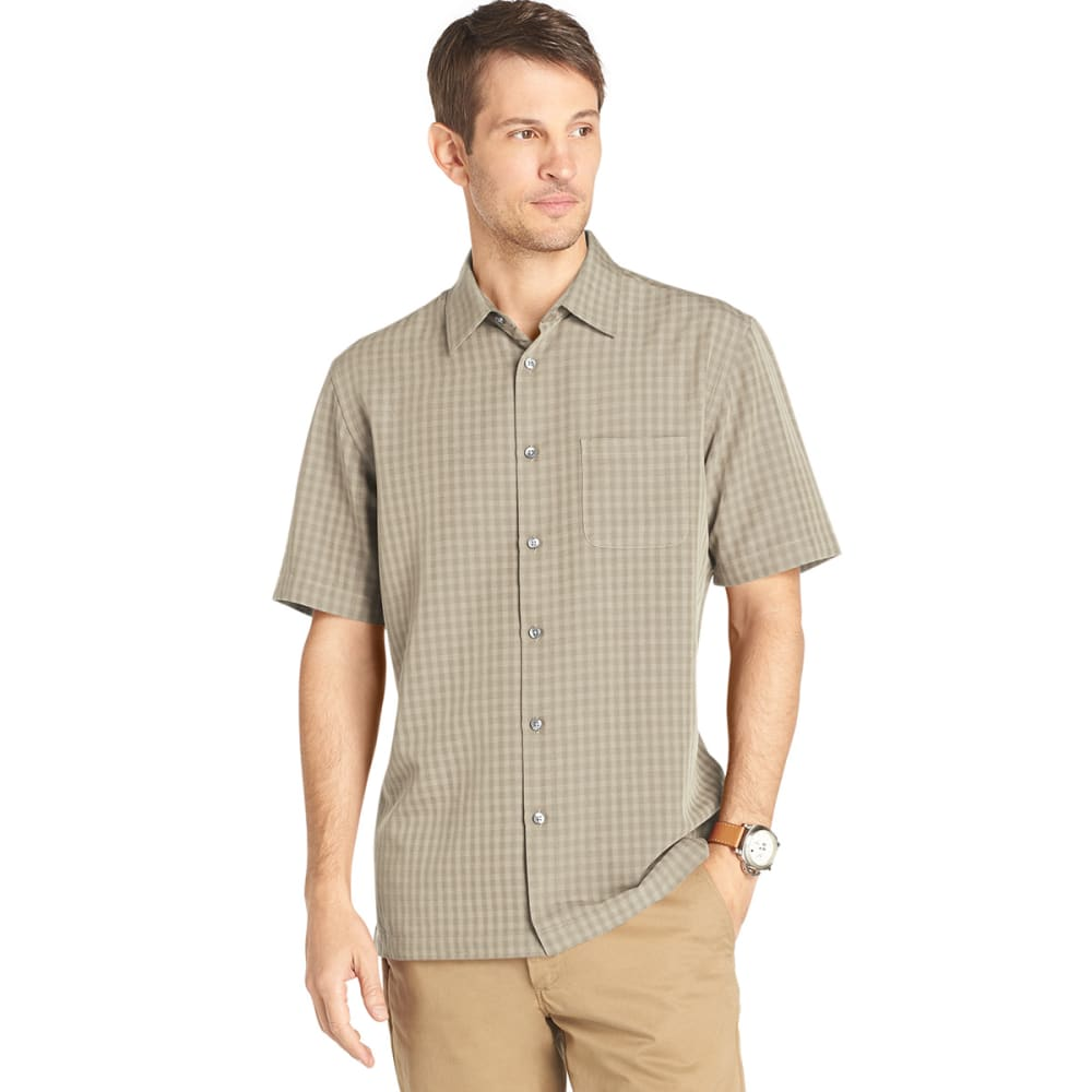 VAN HEUSEN Men's Short-Sleeve Rayon Poly Button-Down - KHAKI
