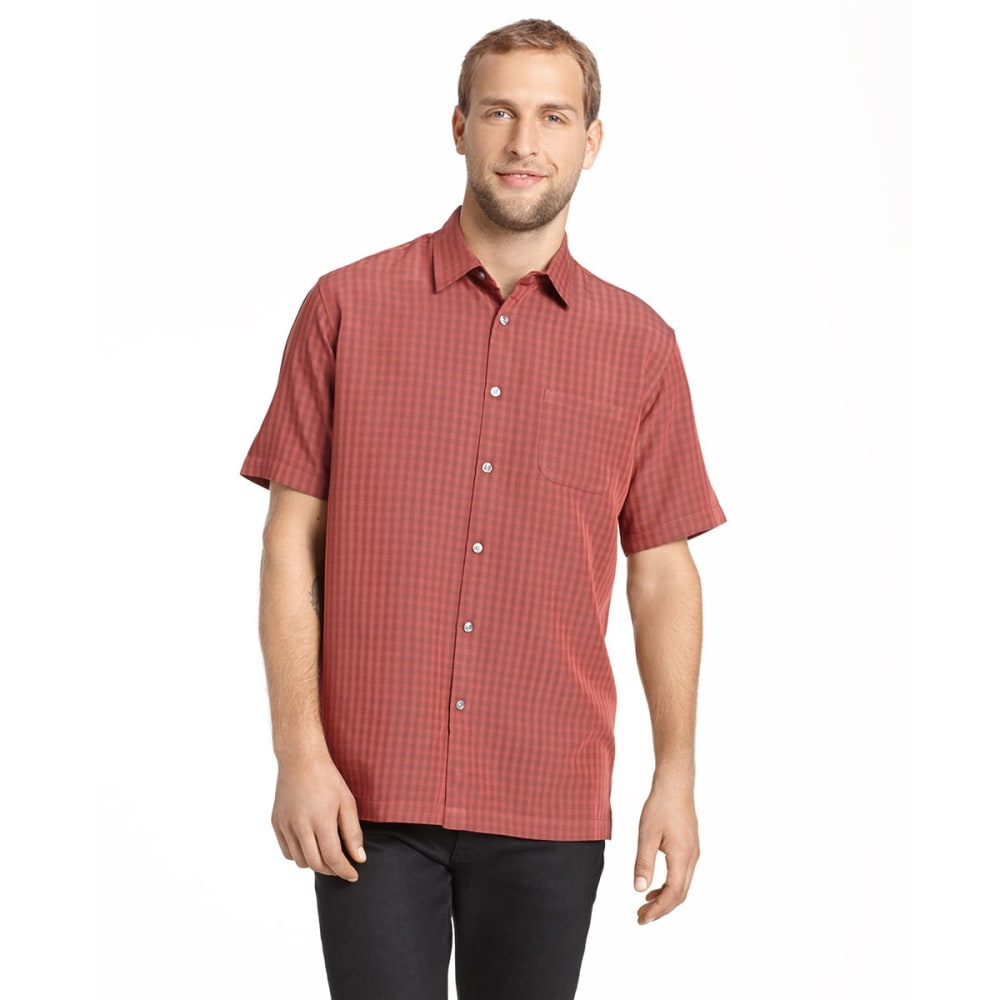 VAN HEUSEN Men's Short-Sleeve Rayon Poly Button-Down - RED