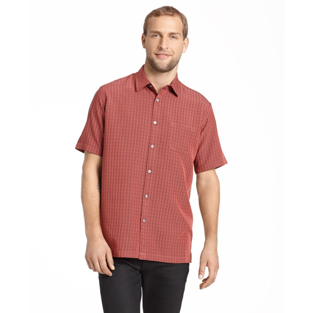 VAN HEUSEN Men's Short-Sleeve Rayon Poly Button-Down - RED