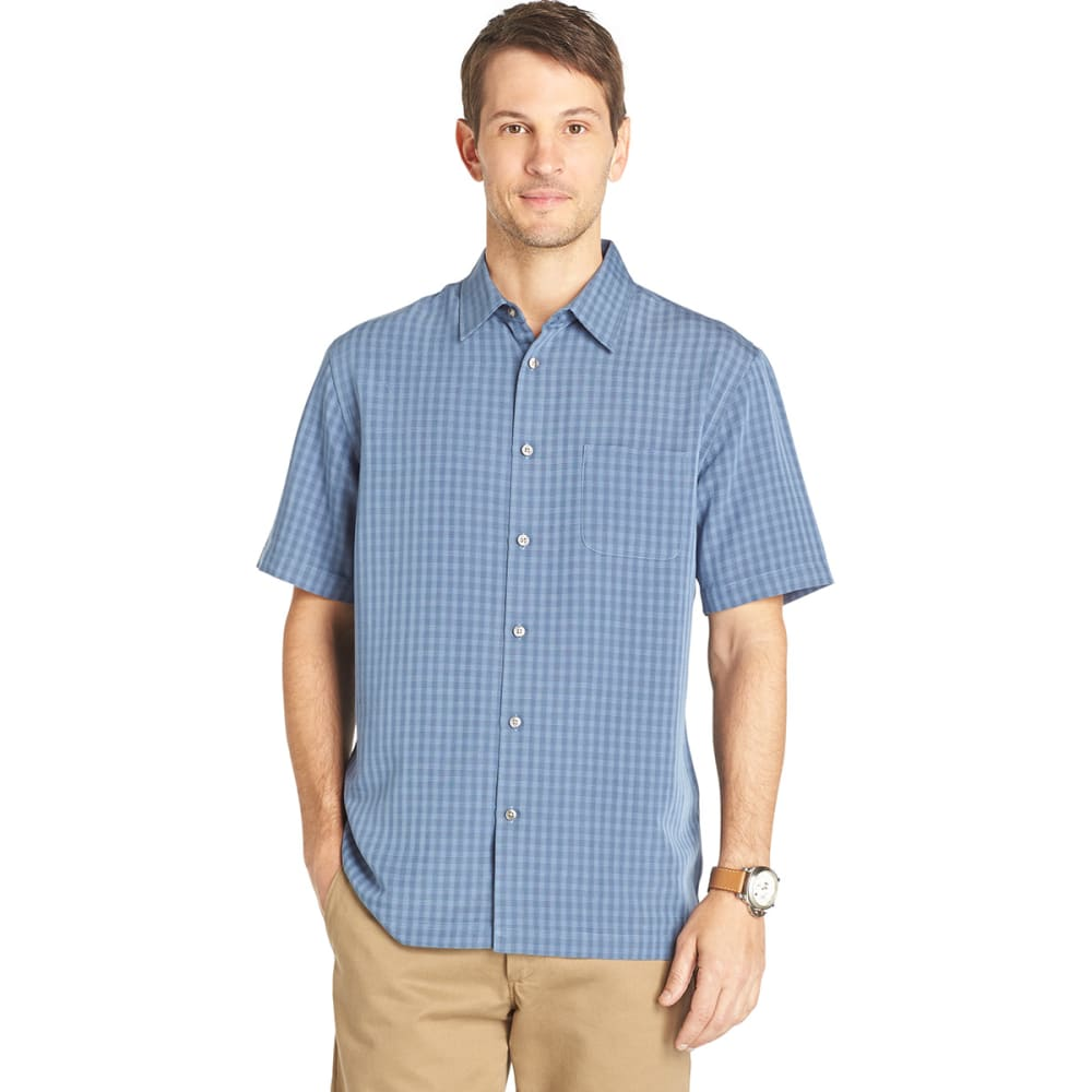 VAN HEUSEN Men's Short-Sleeve Rayon Poly Button-Down - BL DUSTED