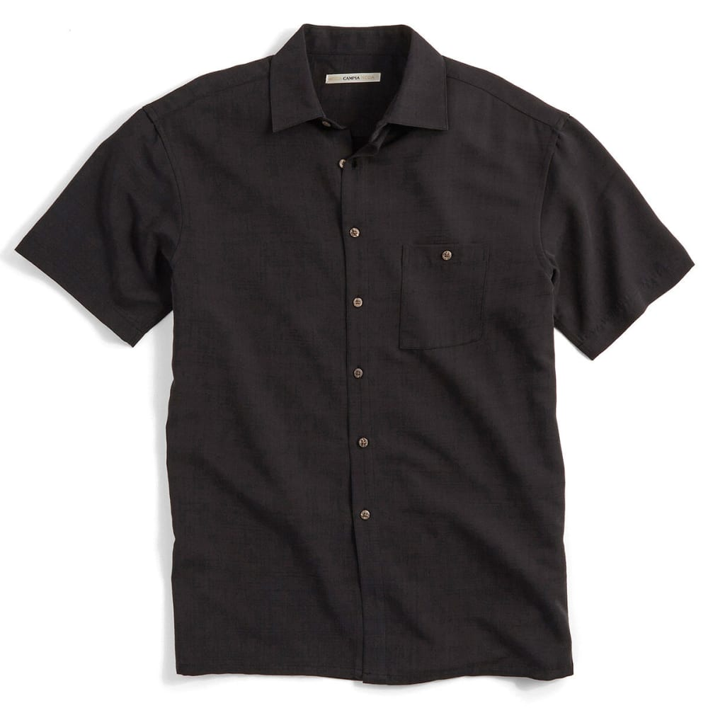 CAMPIA Men's Solid Slub Woven Polo - BLACK