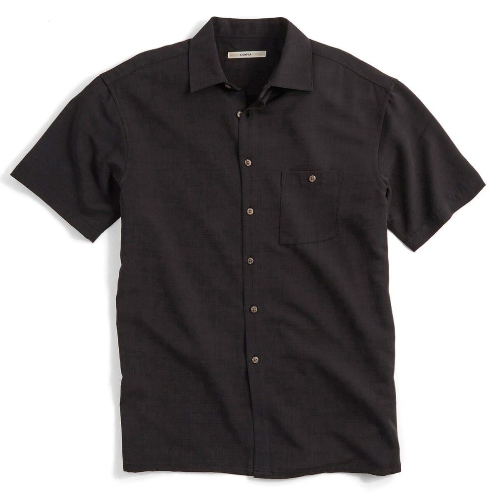 CAMPIA Men's Solid Slub Woven Polo - BLACK