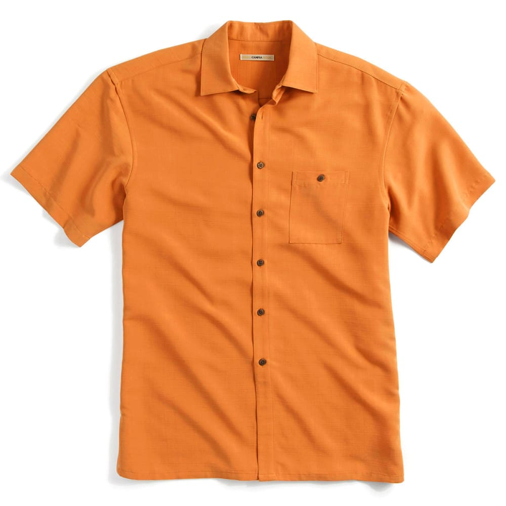 CAMPIA Men's Solid Slub Woven Polo - ORANGE