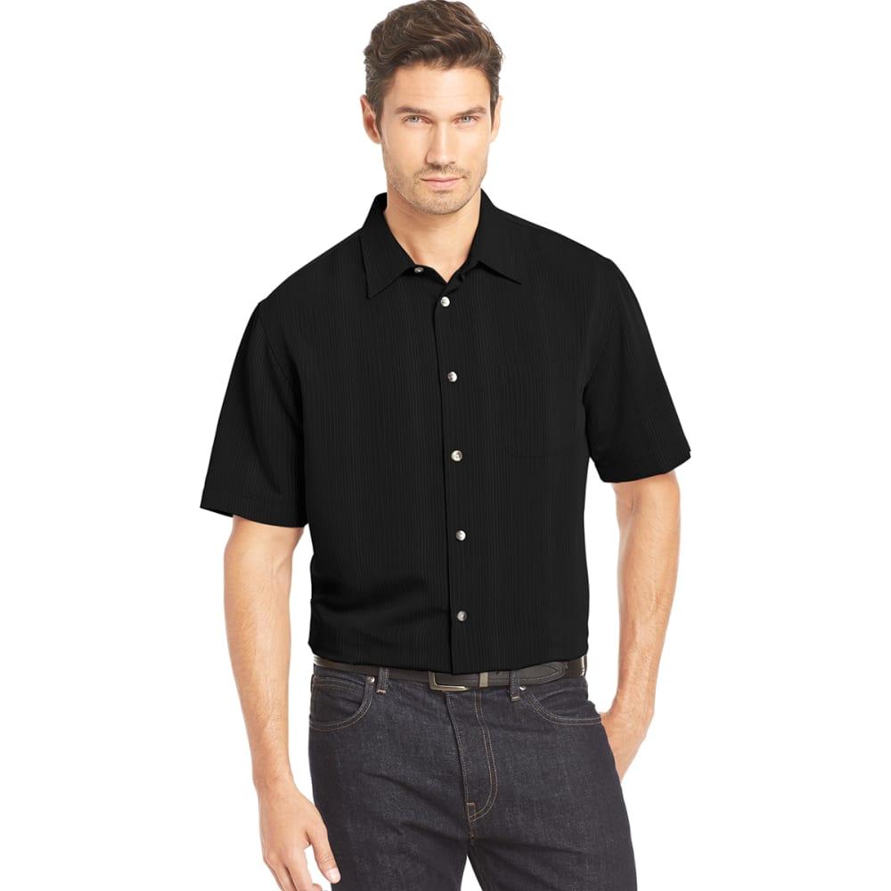VAN HEUSEN Men's Texture Woven Short-Sleeve Shirt - 001-BLACK