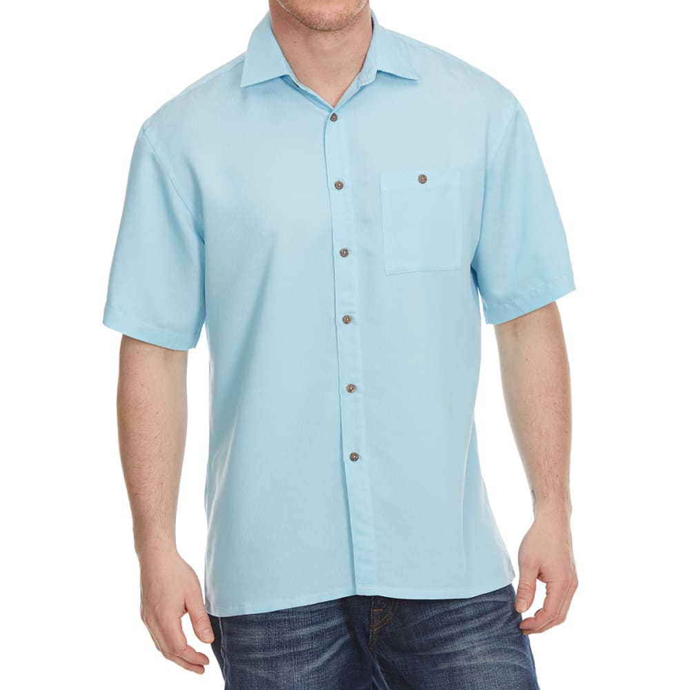 CAMPIA Men's Plaid Woven Polo - BLOWOUT - BLUE OCEAN