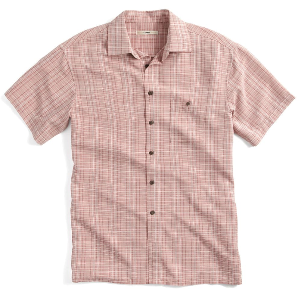 CAMPIA Men's Plaid Woven Polo - BLOWOUT - CORAL