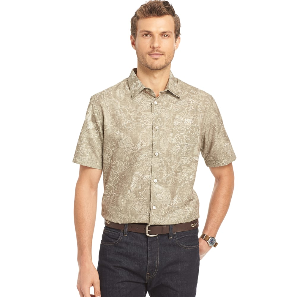 VAN HEUSEN Men's Floral Woven Button-Up Shirt - 259-KH TIMBERWOLF