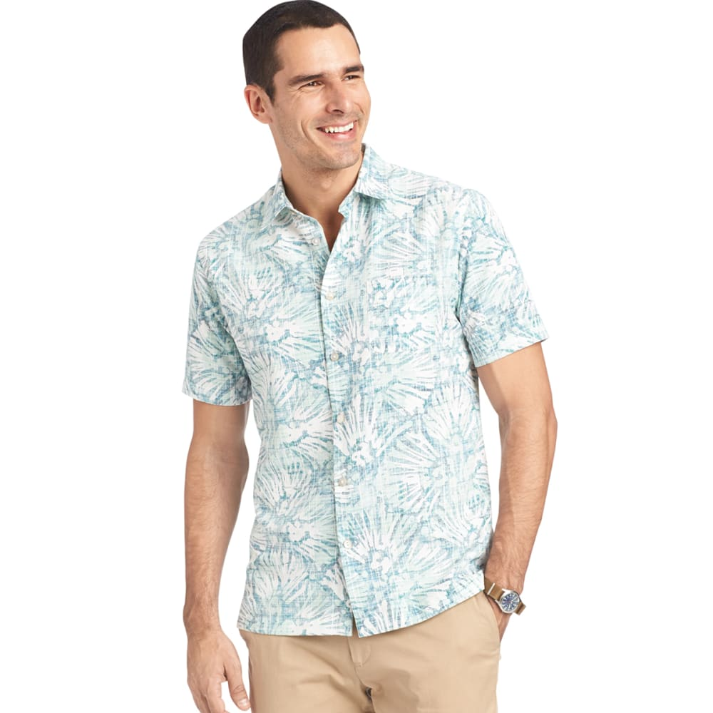 VAN HEUSEN Men's Floral Lichen Button-Up Shirt - 315-GRN LICHEN