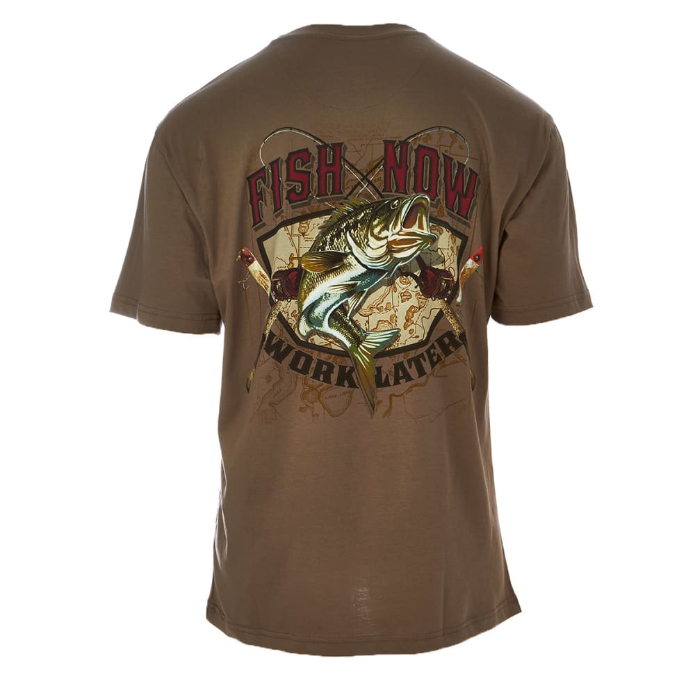 NEWPORT BLUE Men's Fish Now Work Later Tee - TAUPE