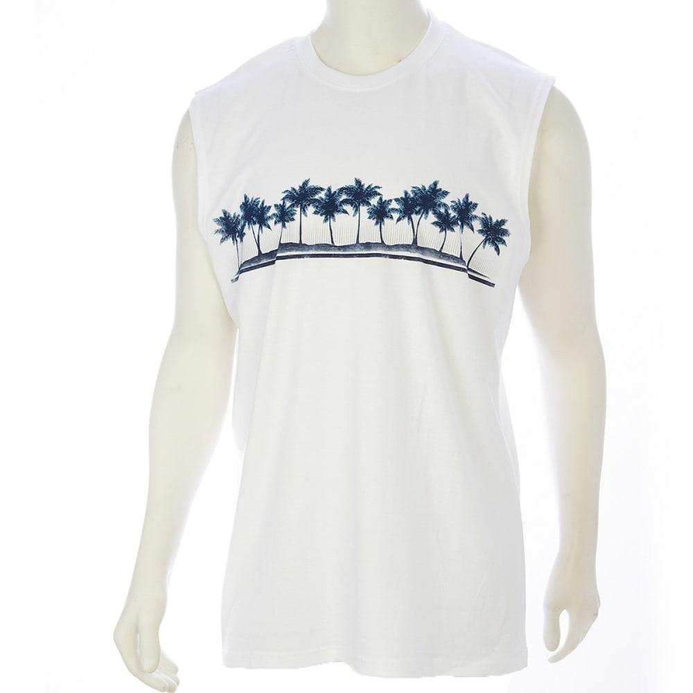 NEWPORT BLUE Men's Sun Ray Palm Muscle Tee - WHITE