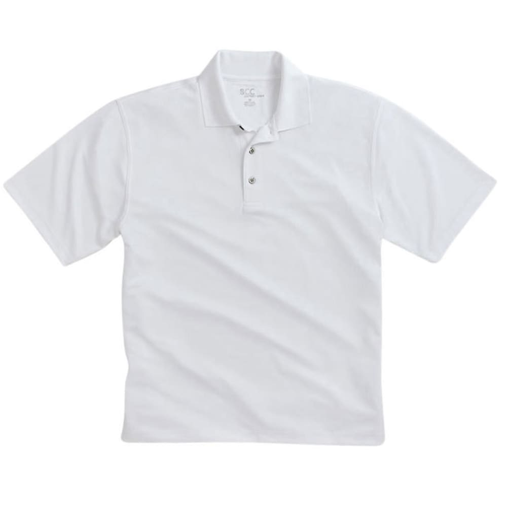 BCC Men's Poly Polo Shirt - WHITE