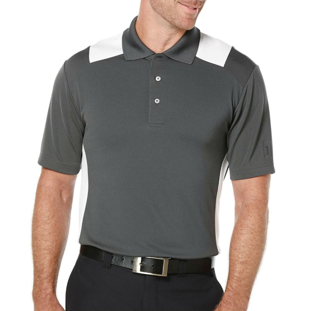 PGA TOUR Men's Airflux Color-Block Polo Shirt - 067-ASPHALT