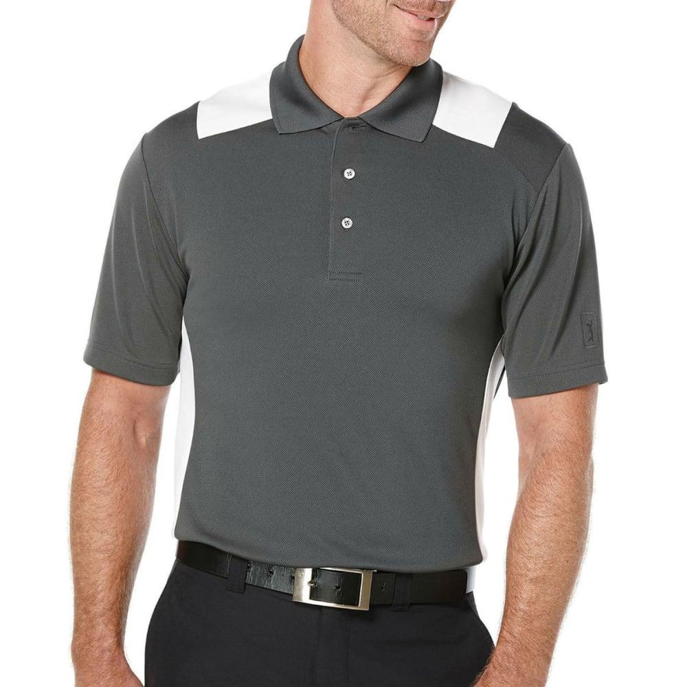 PGA TOUR Men's Airflux Color-Block Polo Shirt - 067-ASPHALT