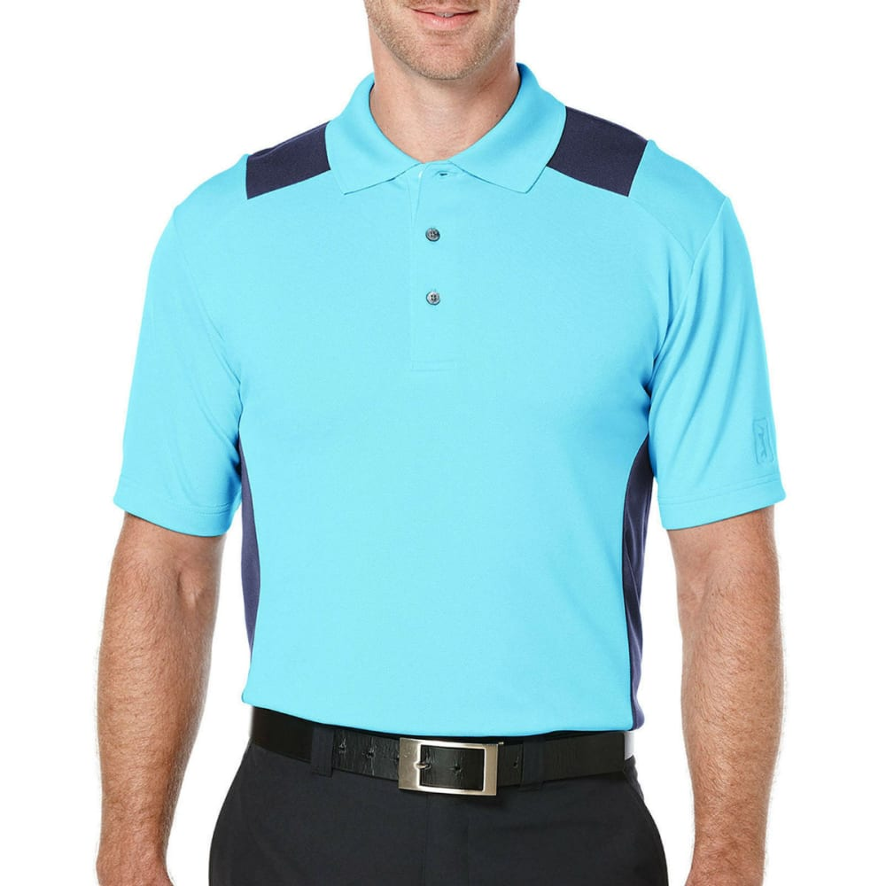 PGA TOUR Men's Airflux Color-Block Polo Shirt - BLUE ATOLL