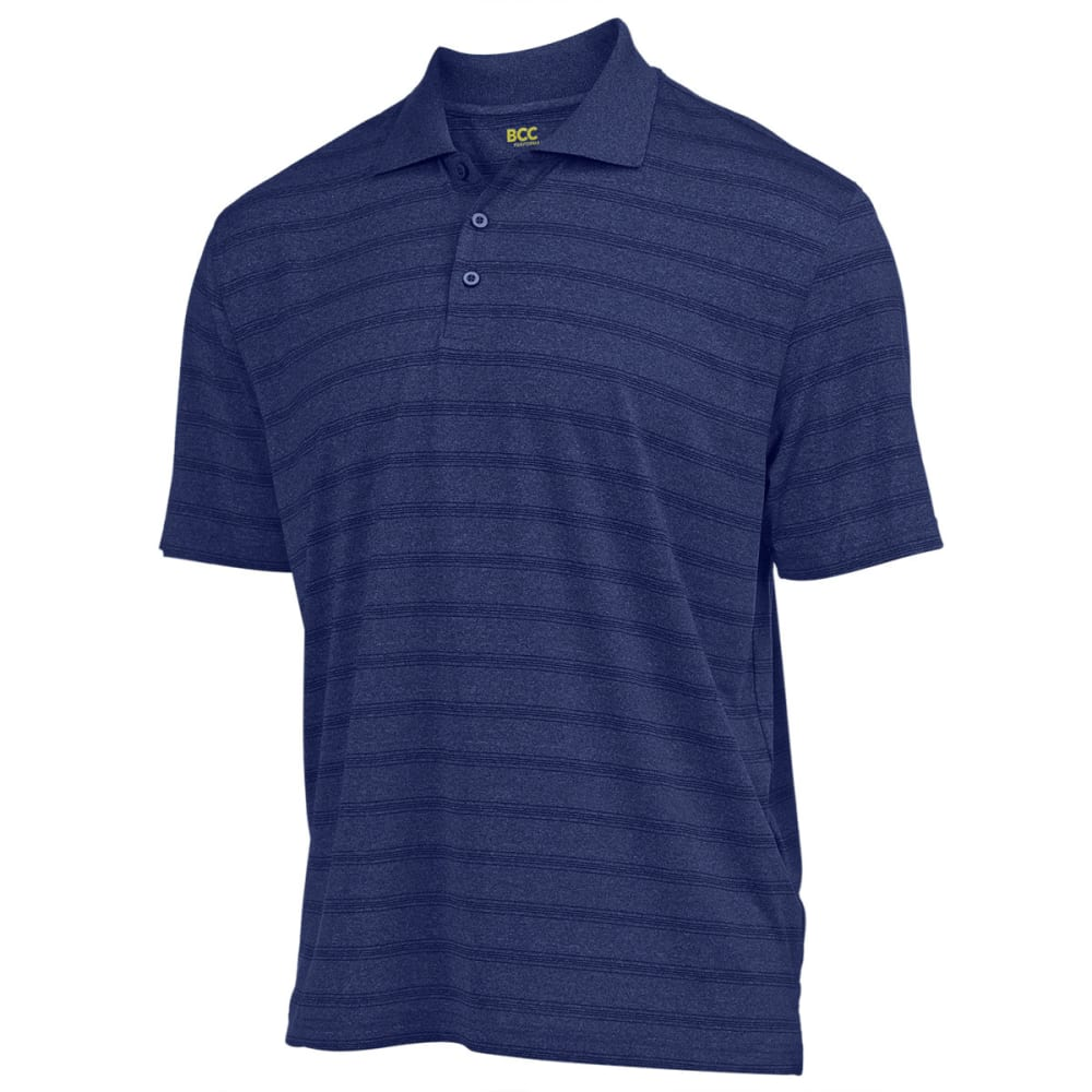 BCC Men's Performance Heather Stripe Polo - DRESS BLUE