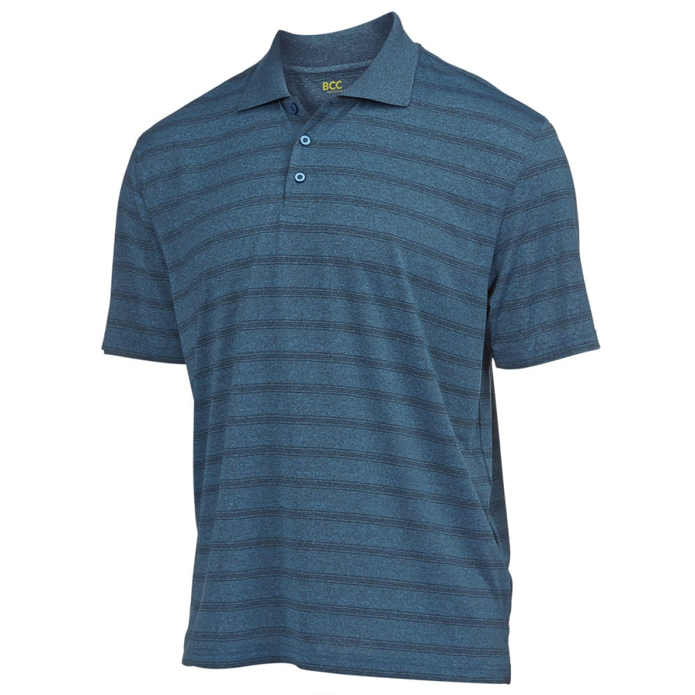 BCC Men's Performance Heather Stripe Poly Polo - TEAL BLUE