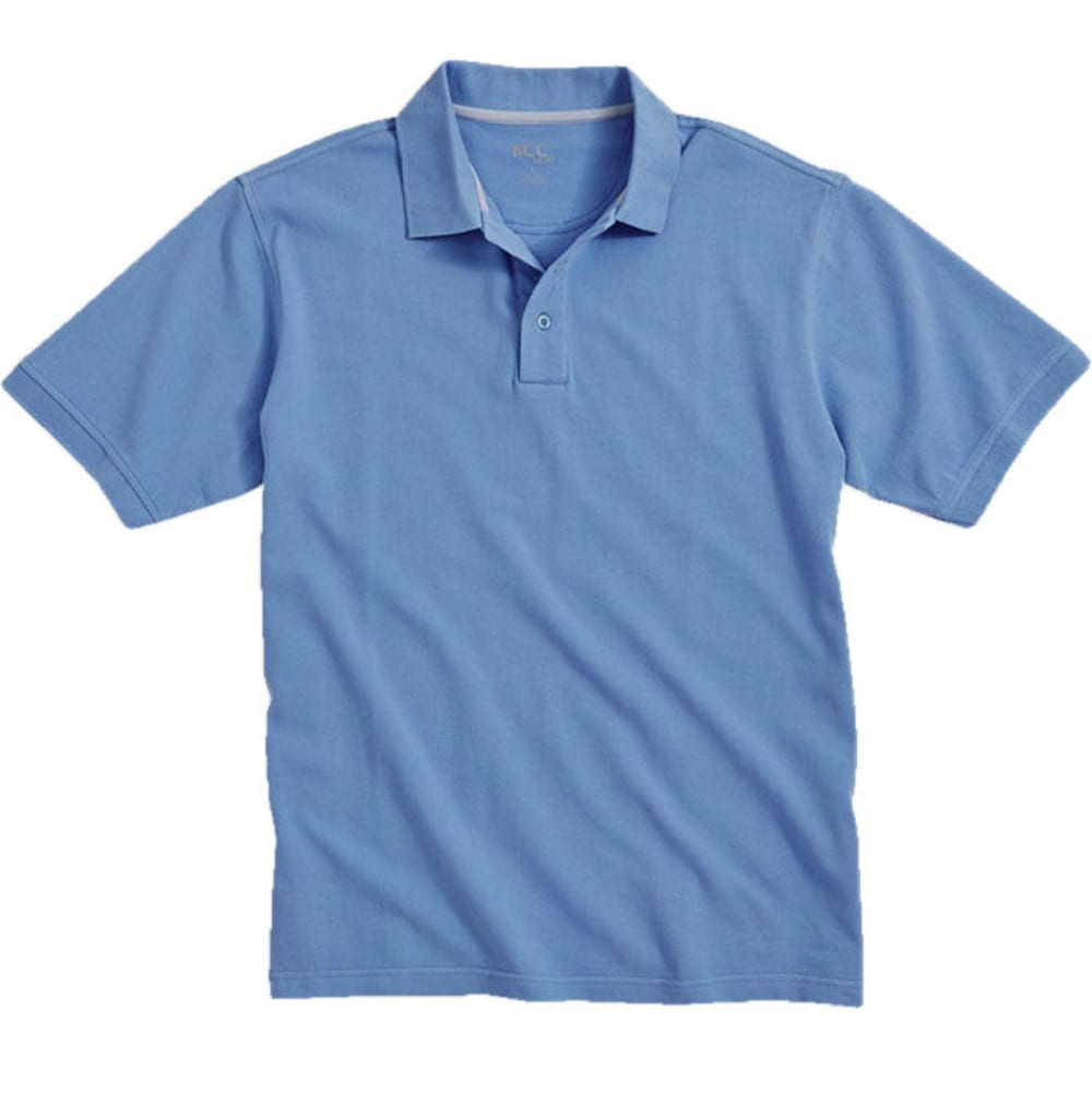 BCC Men's Solid Pique Polo - Blue, L