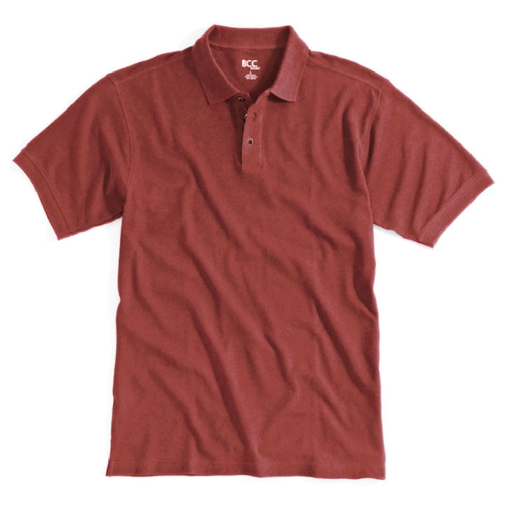 BCC Men's Solid Pique Polo - Red, S