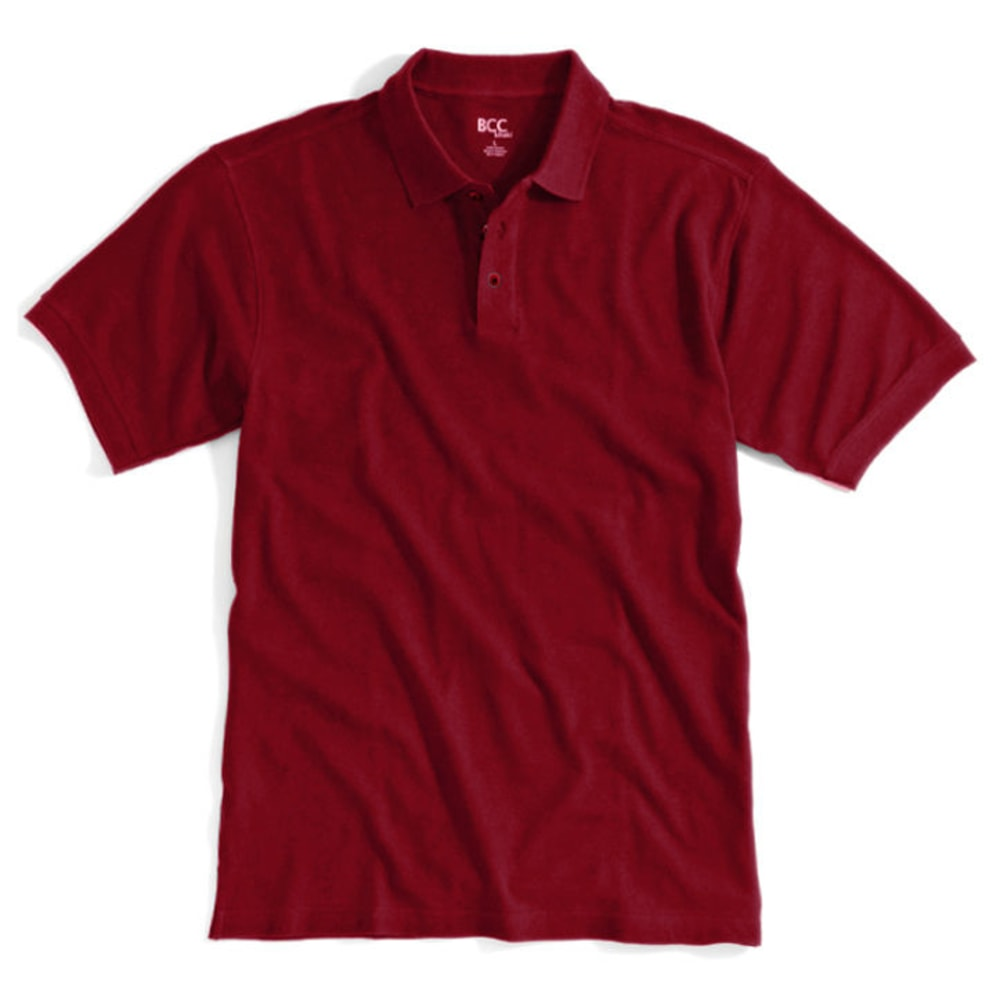 BCC Men's Solid Pique Polo - BARN RED