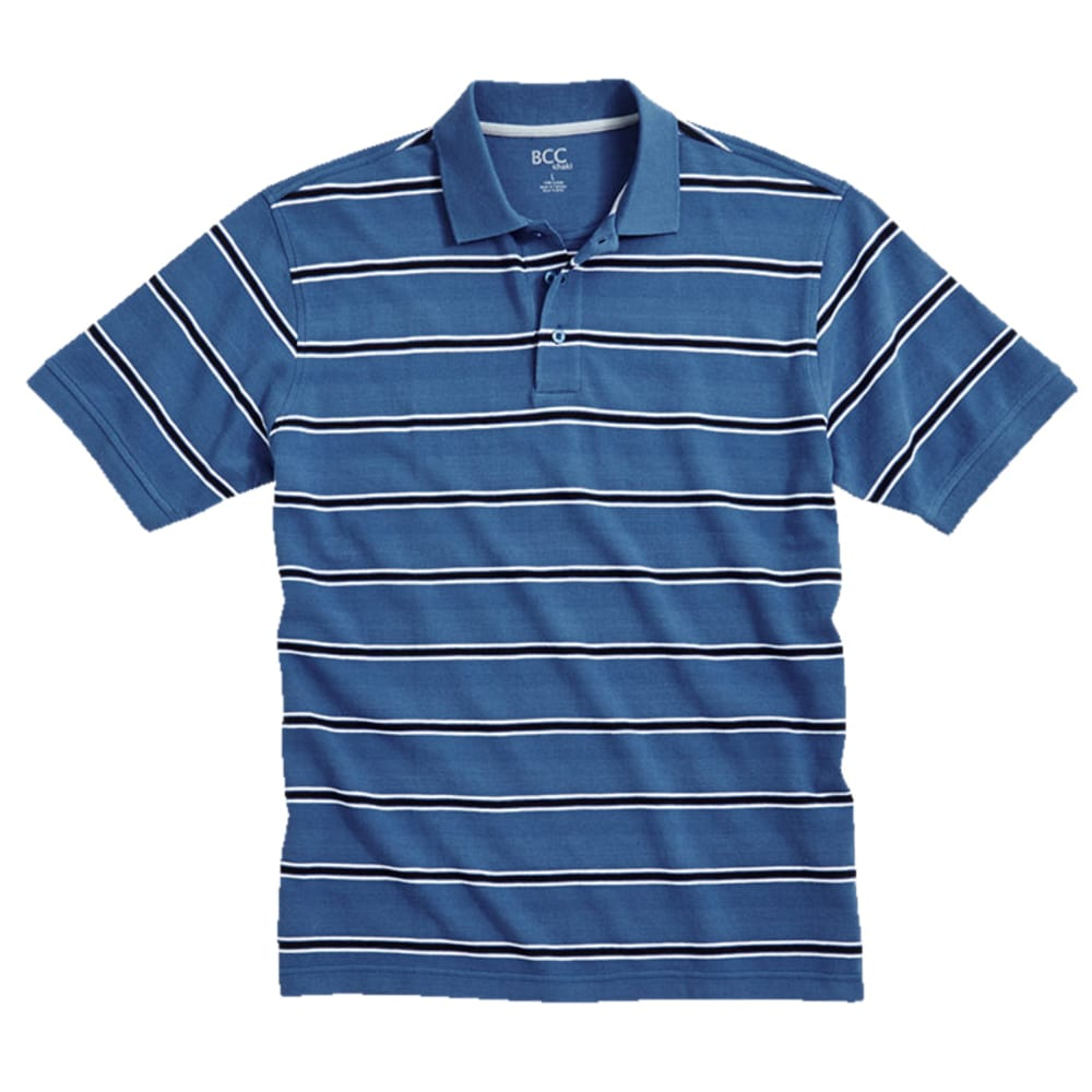 BCC Men's Stripe Pique Polo - HORIZON BLUE