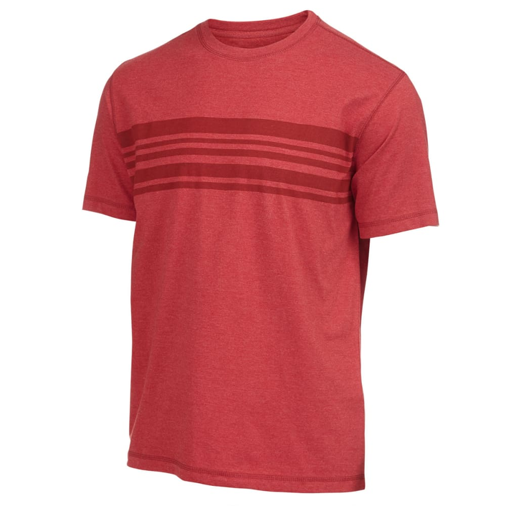 RUGGED TRAILS Men's Stripe Crewneck tee - RED HTR