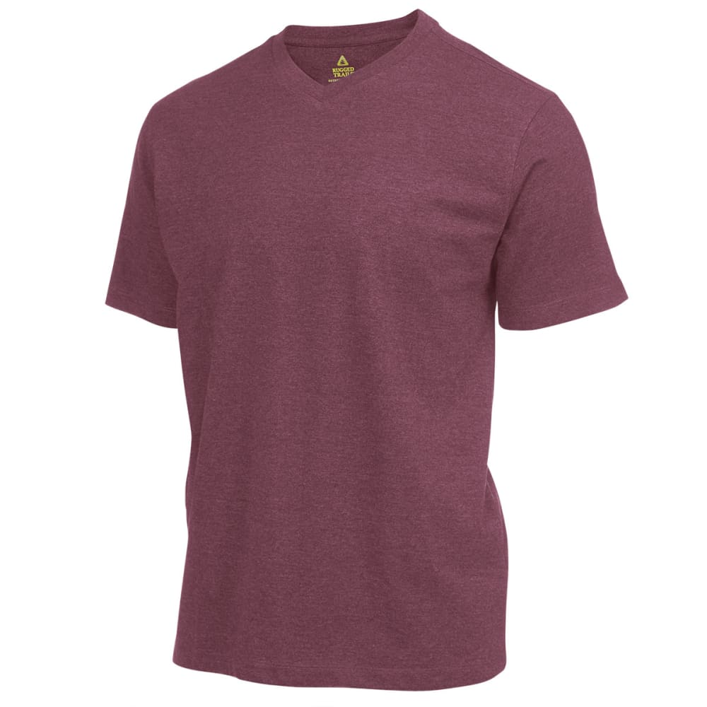 RUGGED TRAILS Men's V-Neck Tee - MAROON HTR