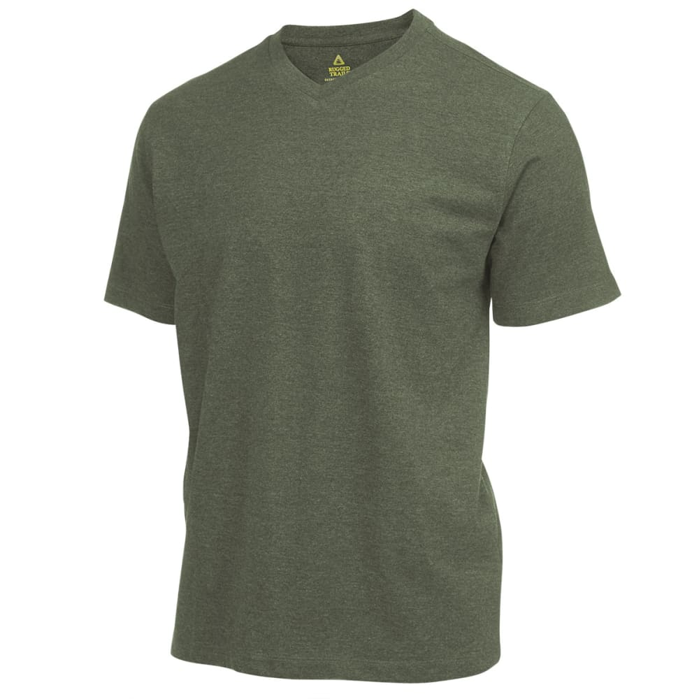 RUGGED TRAILS Men's V-Neck Tee - PINE HTR