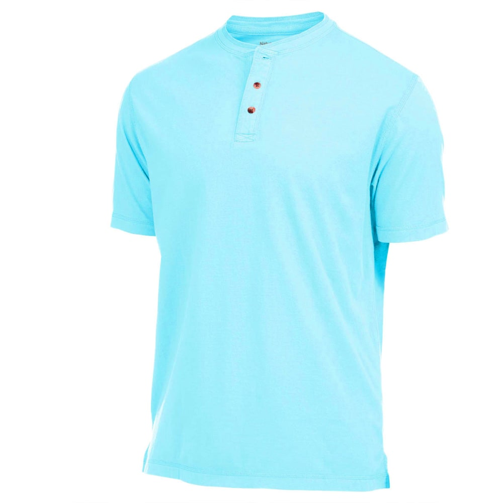 NATURAL BASIX Men's Garment Dyed Henley - AQUA