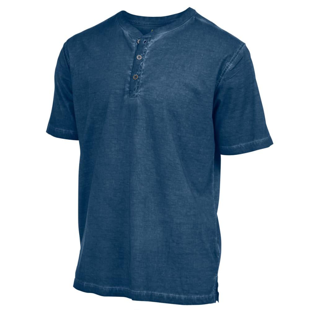 RUGGED TRAILS Men's Oil Wash Short-Sleeve Henley Shirt - INK BLUE