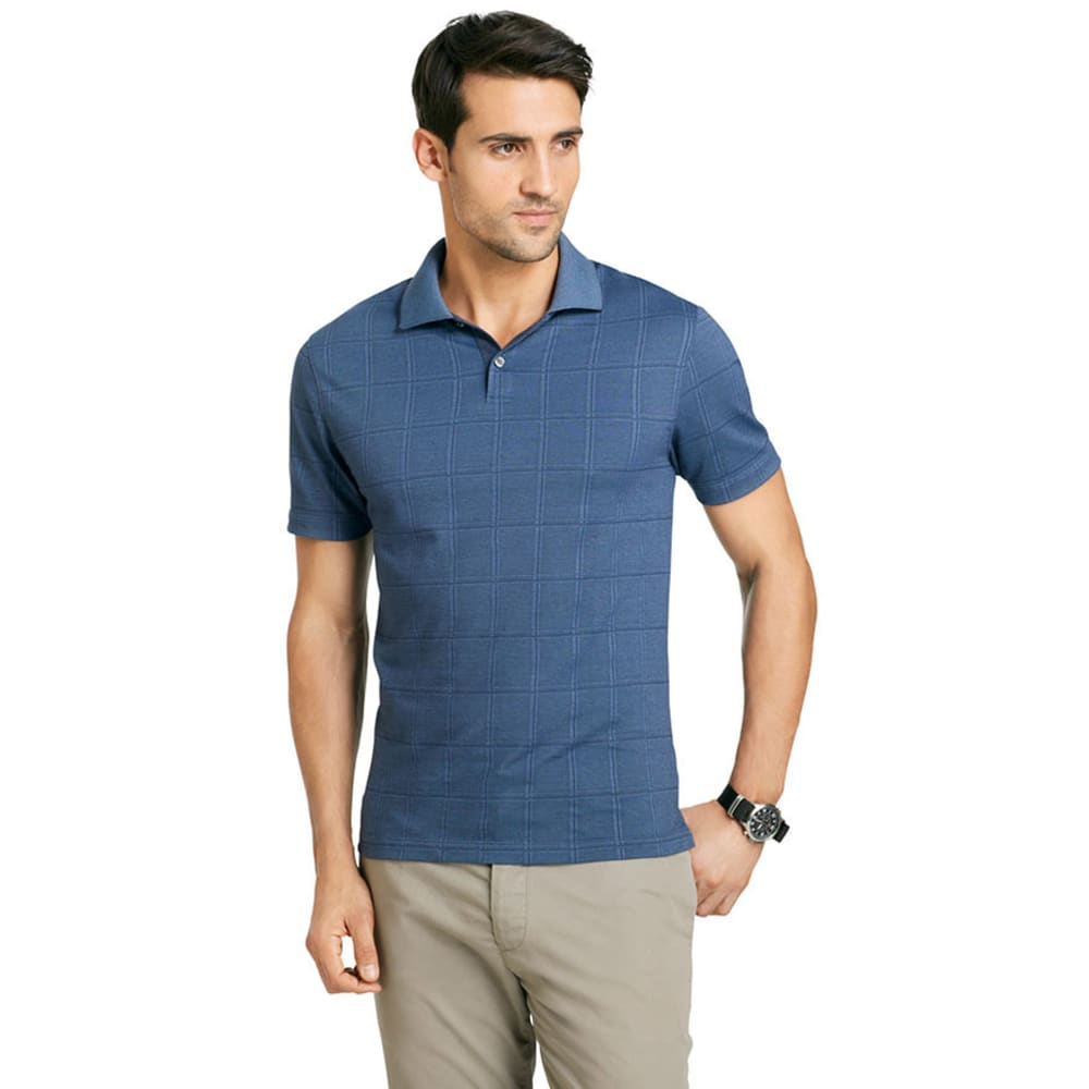 VAN HEUSEN Men's Windowpane Polo - BLUE/BLACK