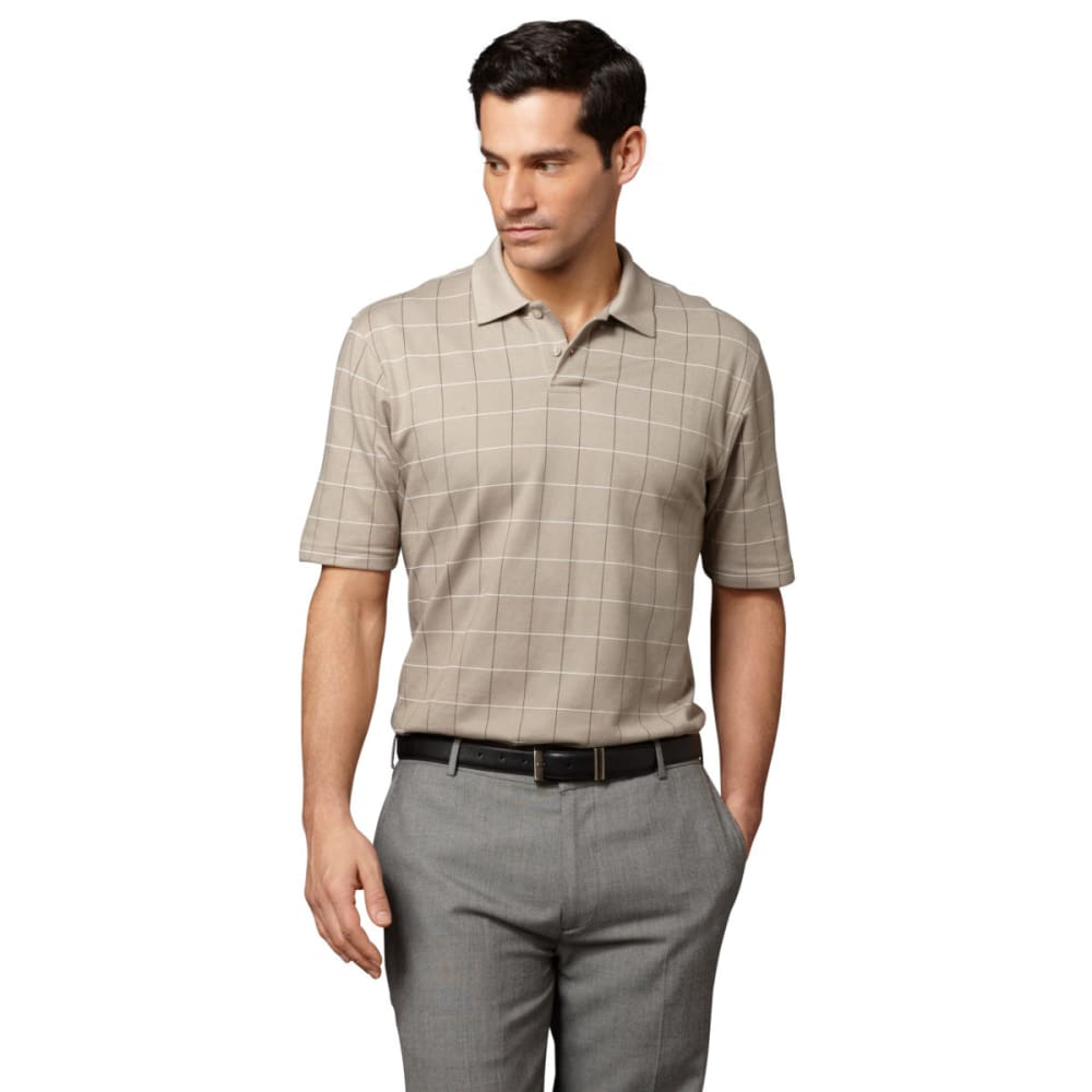 VAN HEUSEN Men's Windowpane Polo Shirt - 261-KHA PLAZA