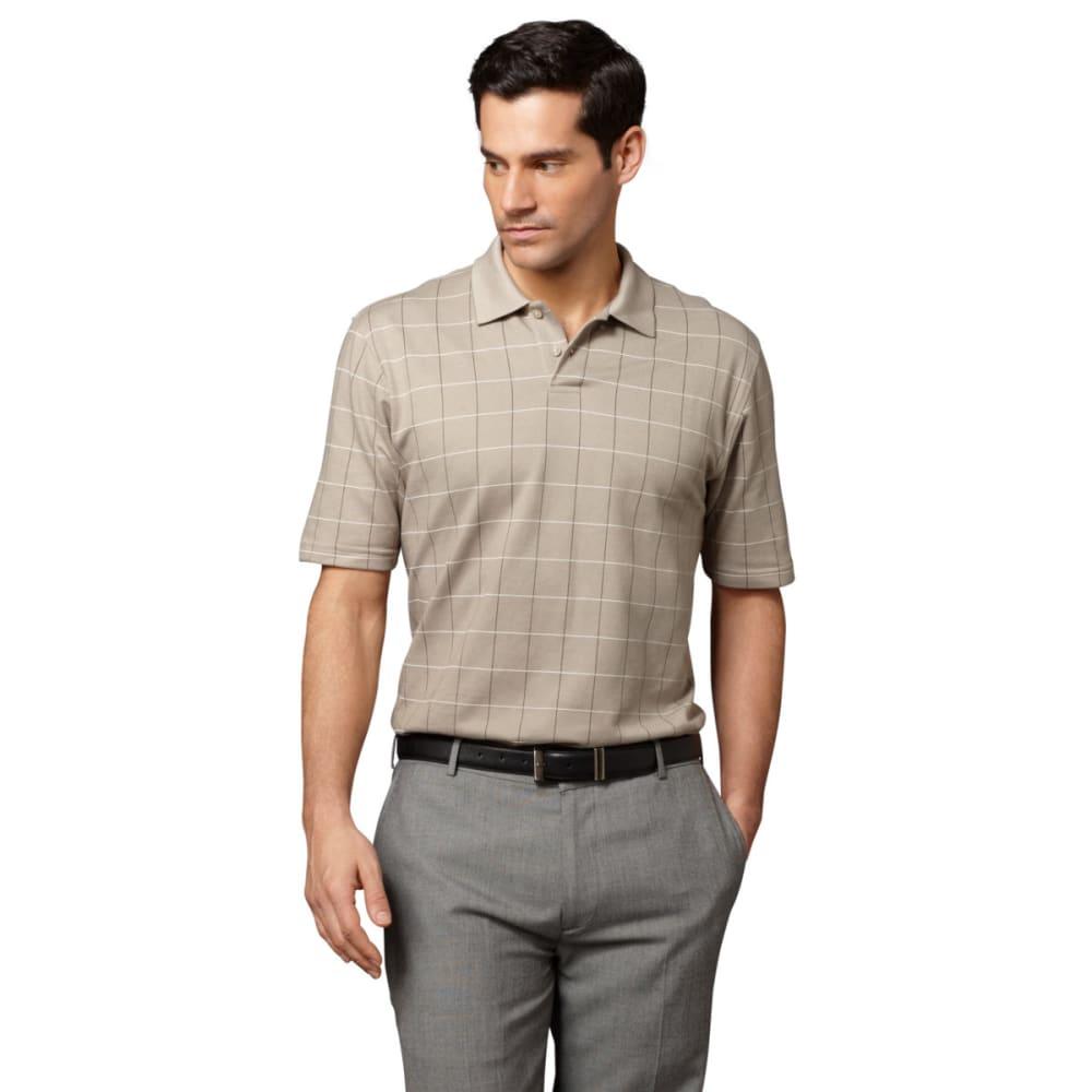 VAN HEUSEN Men's Windowpane Polo Shirt - 261-KHA PLAZA