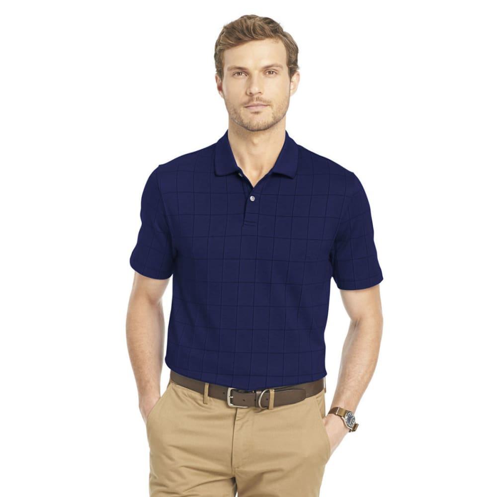 VAN HEUSEN Men's Windowpane Polo Shirt - 489-BL BK IRIS