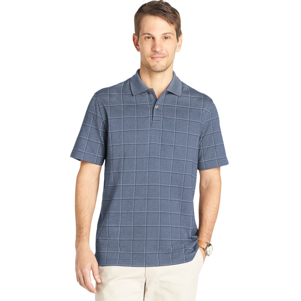 VAN HEUSEN Men's Windowpane Polo - BLU/BLK