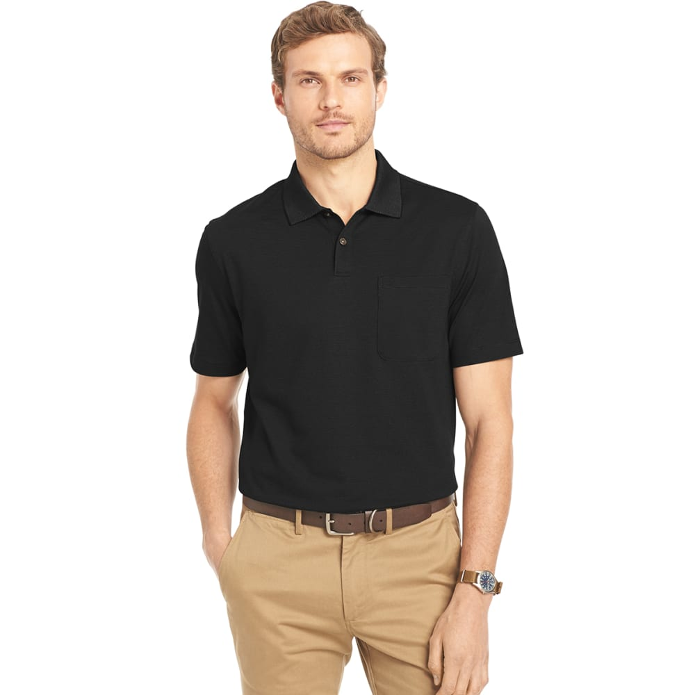 VAN HEUSEN Men's Feeder Stripe Polo Shirt - 001-BLACK