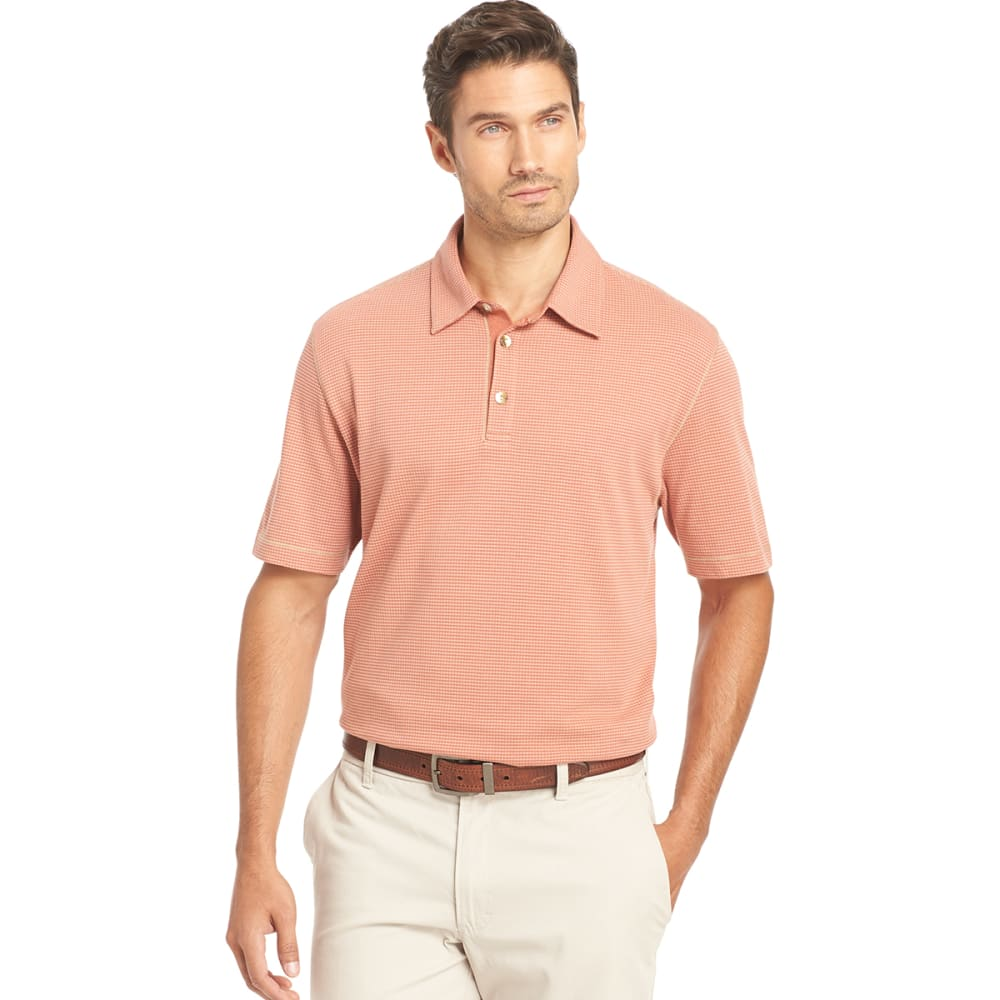 VAN HEUSEN Men's Popcorn Knit Polo - 936-RED CHUTNEY